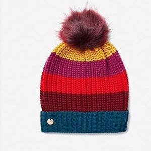 Express NWT Pom multicolored winter beanie